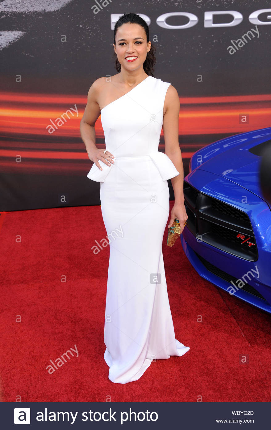 "Universal City, CA - Michelle Rodriguez arrives at the premiere of ""Fast & Furious 6"" in Universal City. AKM-GSI, May 21, 2013 Stock Photo"