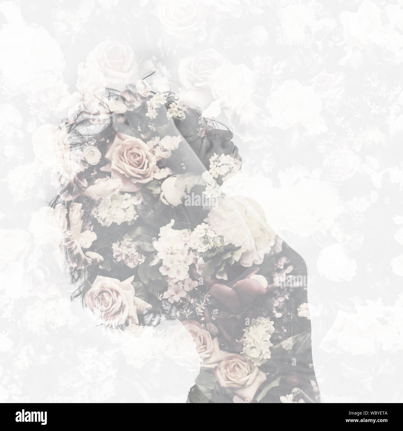 Double Exposure With Female Portrait And Vintage Flower