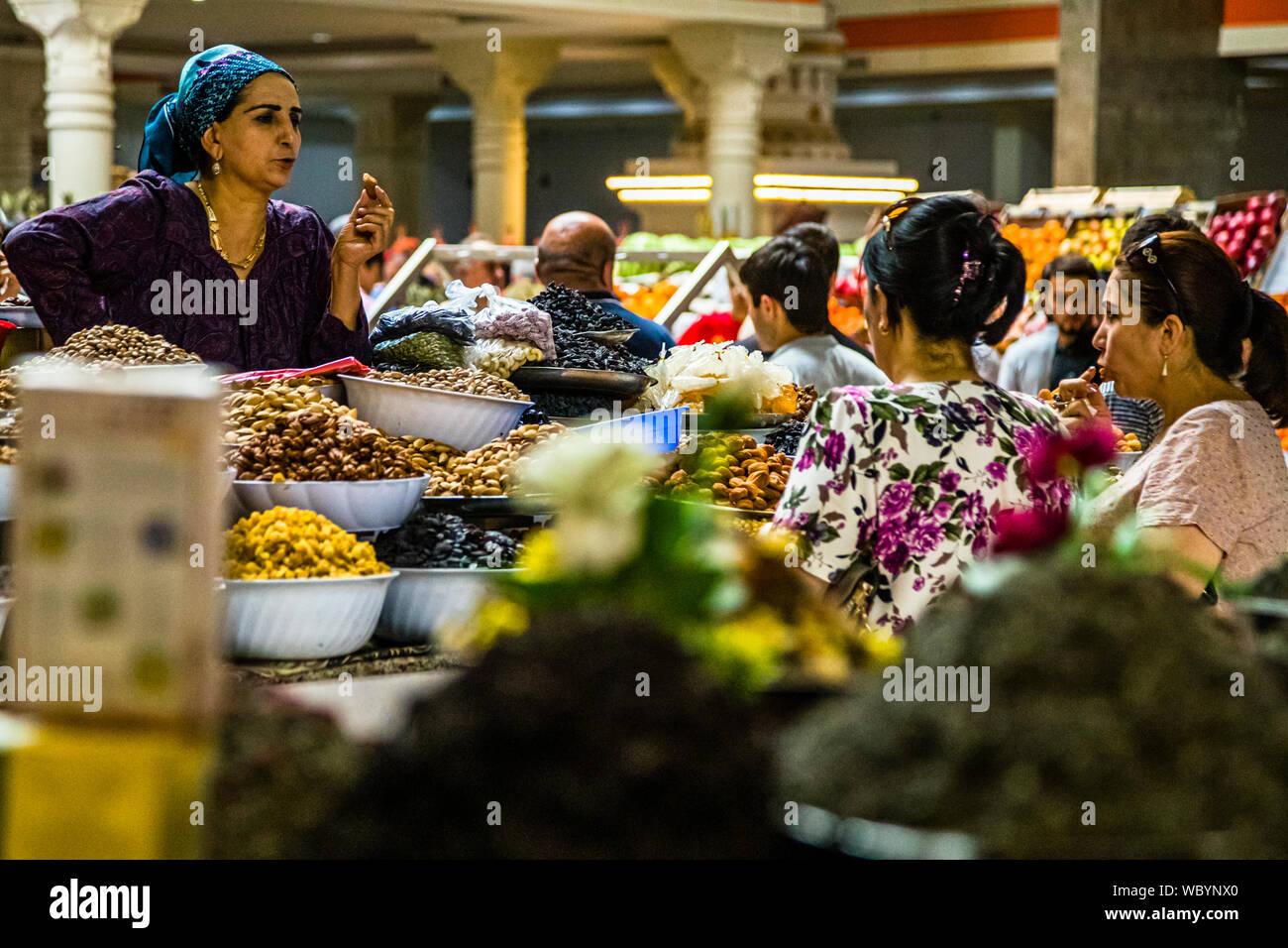 Inside Main Market Hall in Dushanbe,  Capital City of Tajikistan Stock Photo