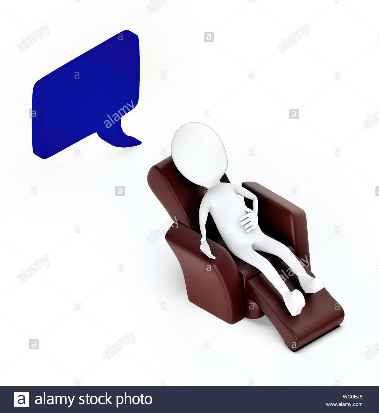 Admirable 3D White Guy Sitting On A Sofa Chair Speech Bubble Curved Caraccident5 Cool Chair Designs And Ideas Caraccident5Info
