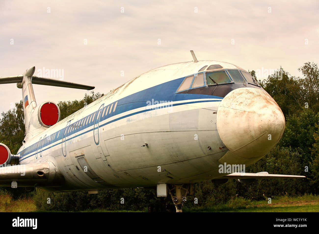 Elements of the old Soviet military plane close-up. Stock Photo
