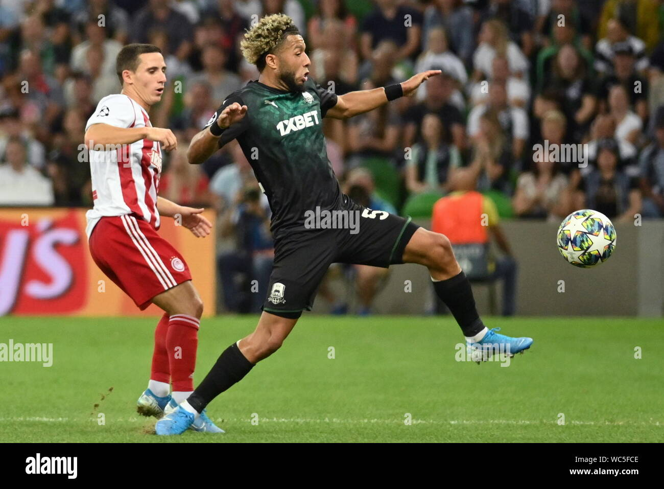 Krasnodar Russia 27th Aug 2019 Krasnodar Russia August 27 2019 Olympiacos Fc S Daniel Podence L And