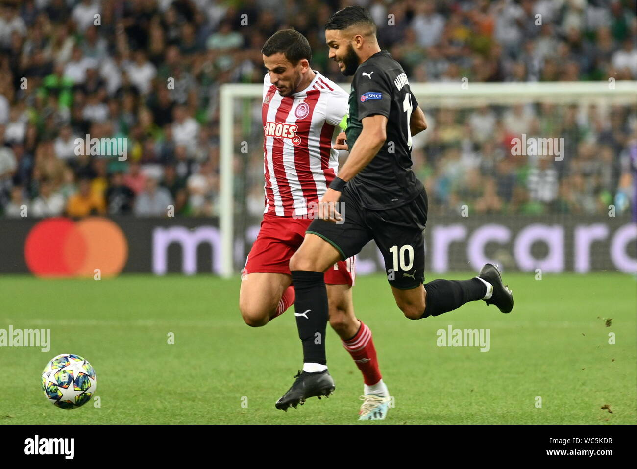 Krasnodar Russia 27th Aug 2019 Krasnodar Russia August 27 2019 Olympiacos Fc S Omar Elabdellaoui L And