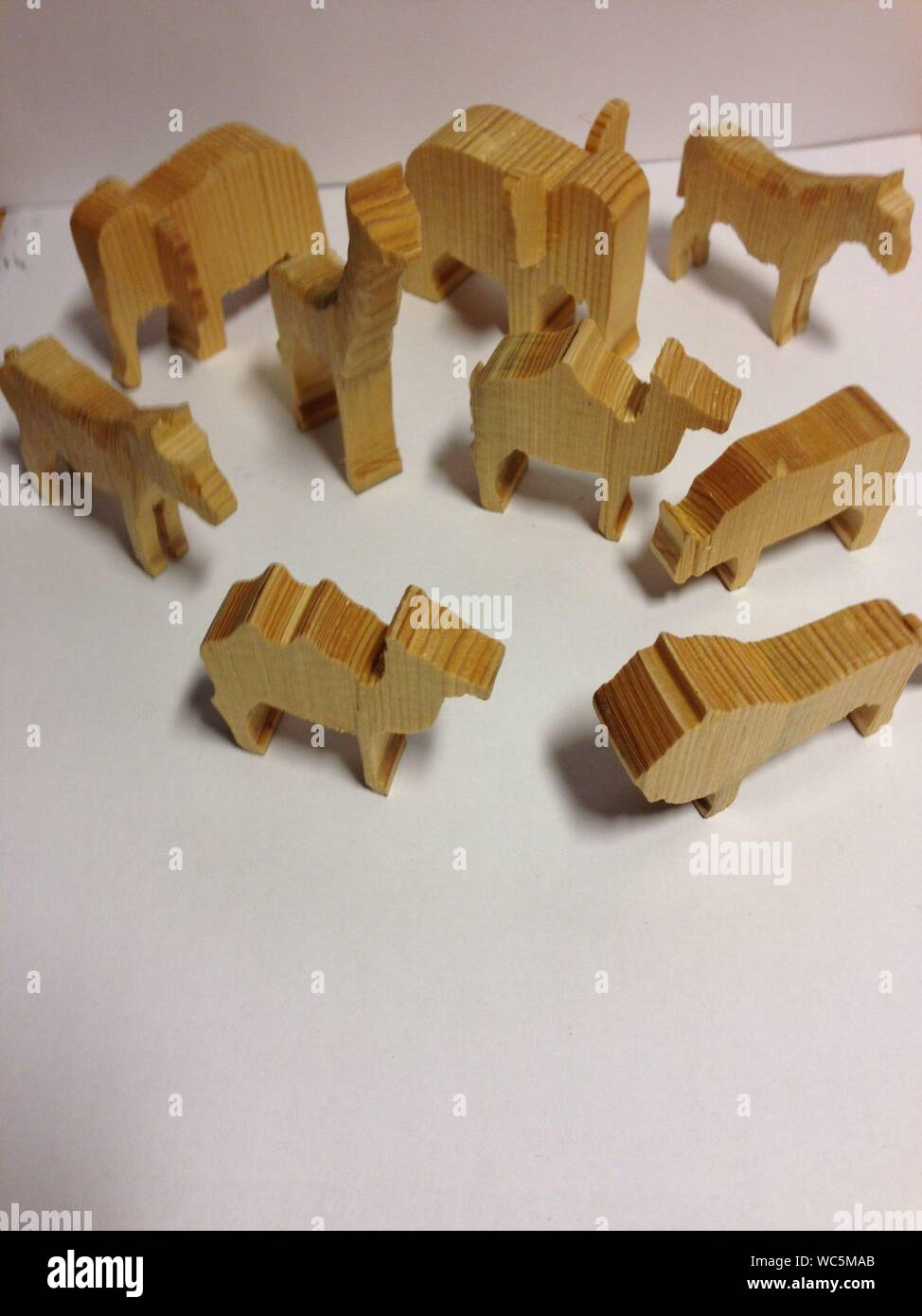 High Angle View Of Carved Wooden Animals Stock Photo