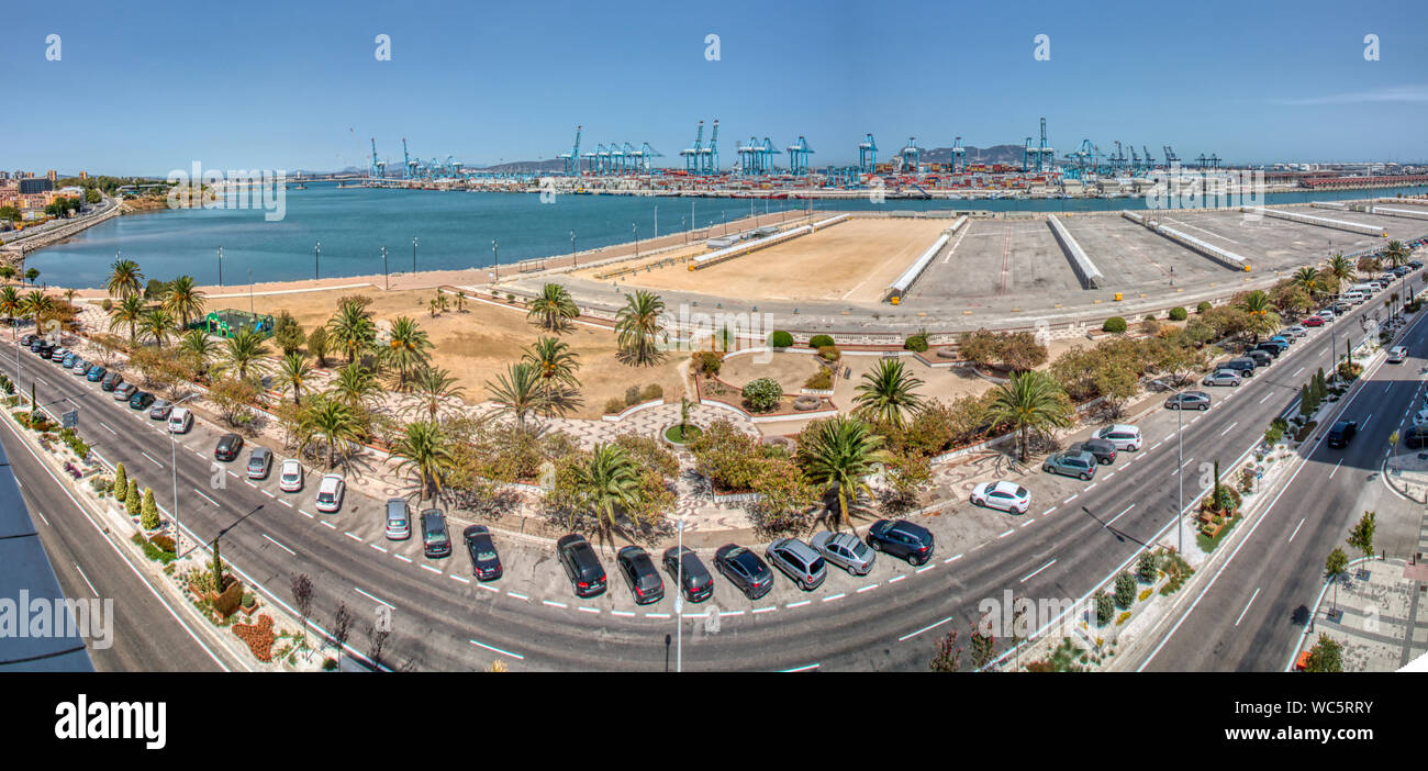 Algeciras, Cadiz, Spain - August 10, 2019: Panoramic view of the sea port of Algeciras, Spain, with the Rock of Gibraltar in the background Stock Photo