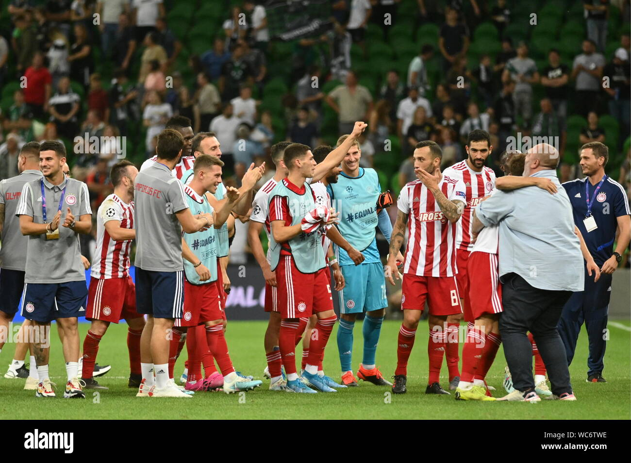 Krasnodar Russia 27th Aug 2019 Krasnodar Russia August 27 2019 Olympiacos Fc Players And Coaching Staff Celebrate Their Victory In The Senond Leg Of The 2019 20 Uefa Champions League Play Off Football