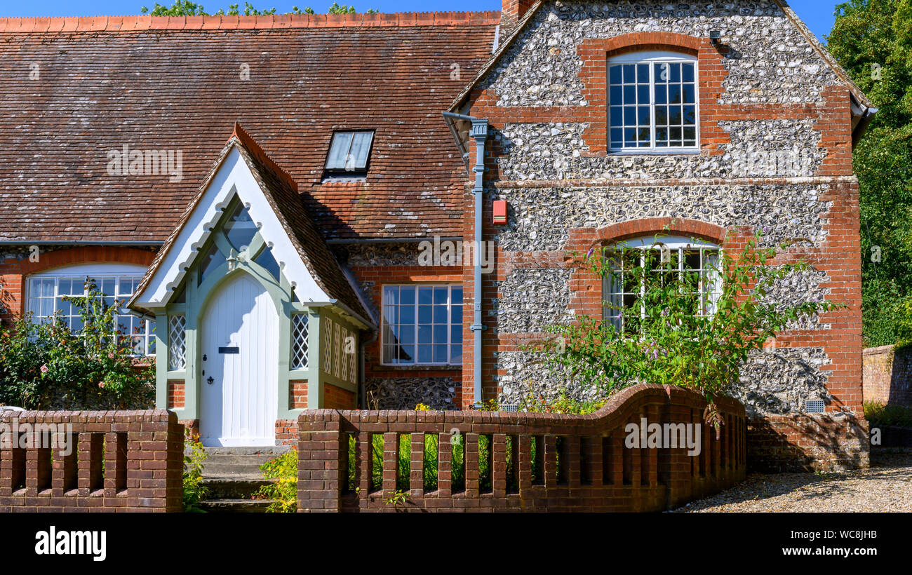 Former Laverstoke Primary School - architect George Edmund Street - Laverstoke, Hampshire, England, UK Stock Photo