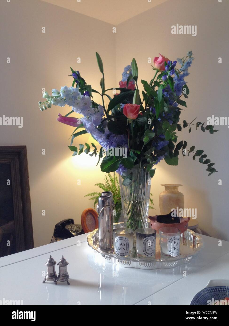 Flower Bouquet On Dining Table At Home Stock Photo Alamy