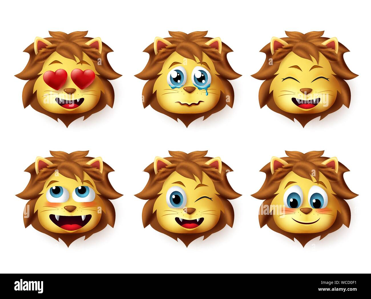 Animal Emoji Vector High Resolution Stock Photography And Images Alamy Unique lion face emoji stickers designed and sold by artists. https www alamy com lion animal emoji vector set lions emoticons with funny and inlove facial expressions for design elements isolated in white background image265817189 html