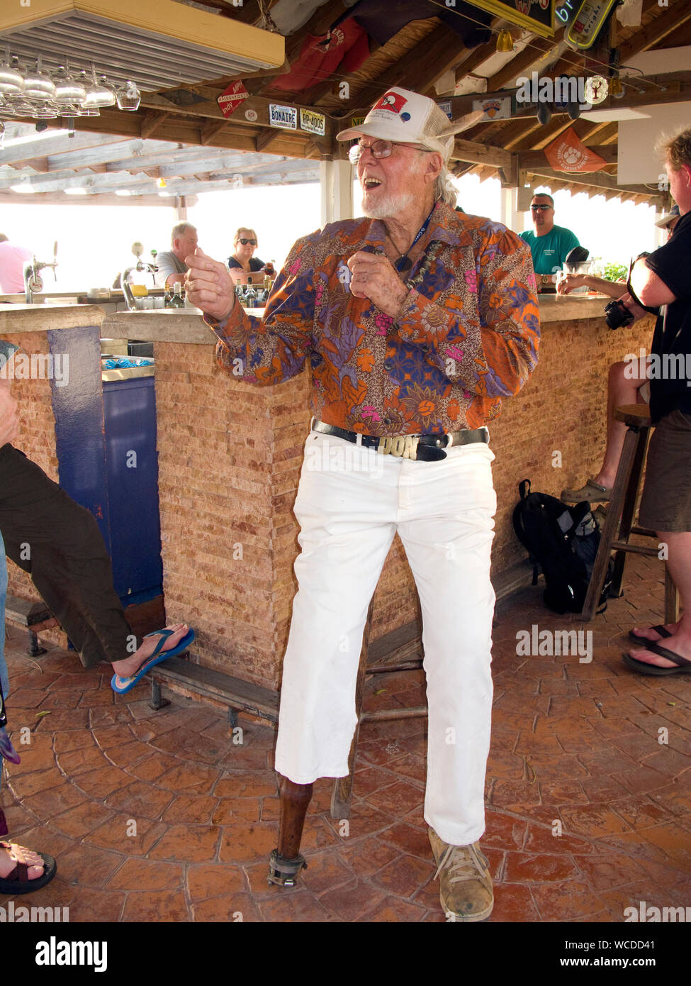 Captain Don, pionier and owner of Captain Don's Habitat, famous Dive hotel and resort, Kralendijk, Bonaire, Netherland Antilles Stock Photo