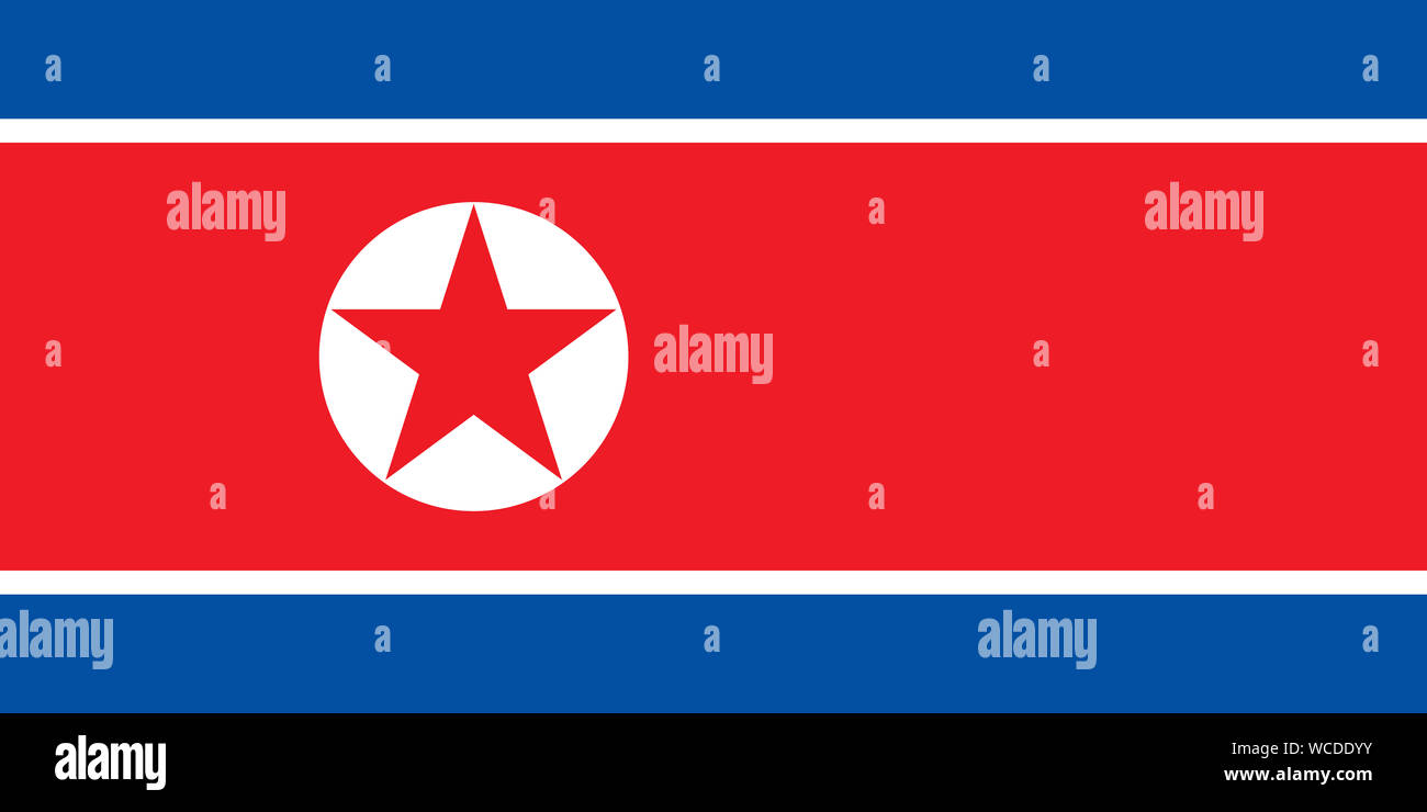 North Korean Flag Or Flag Of Democratic Peoples Republic Of