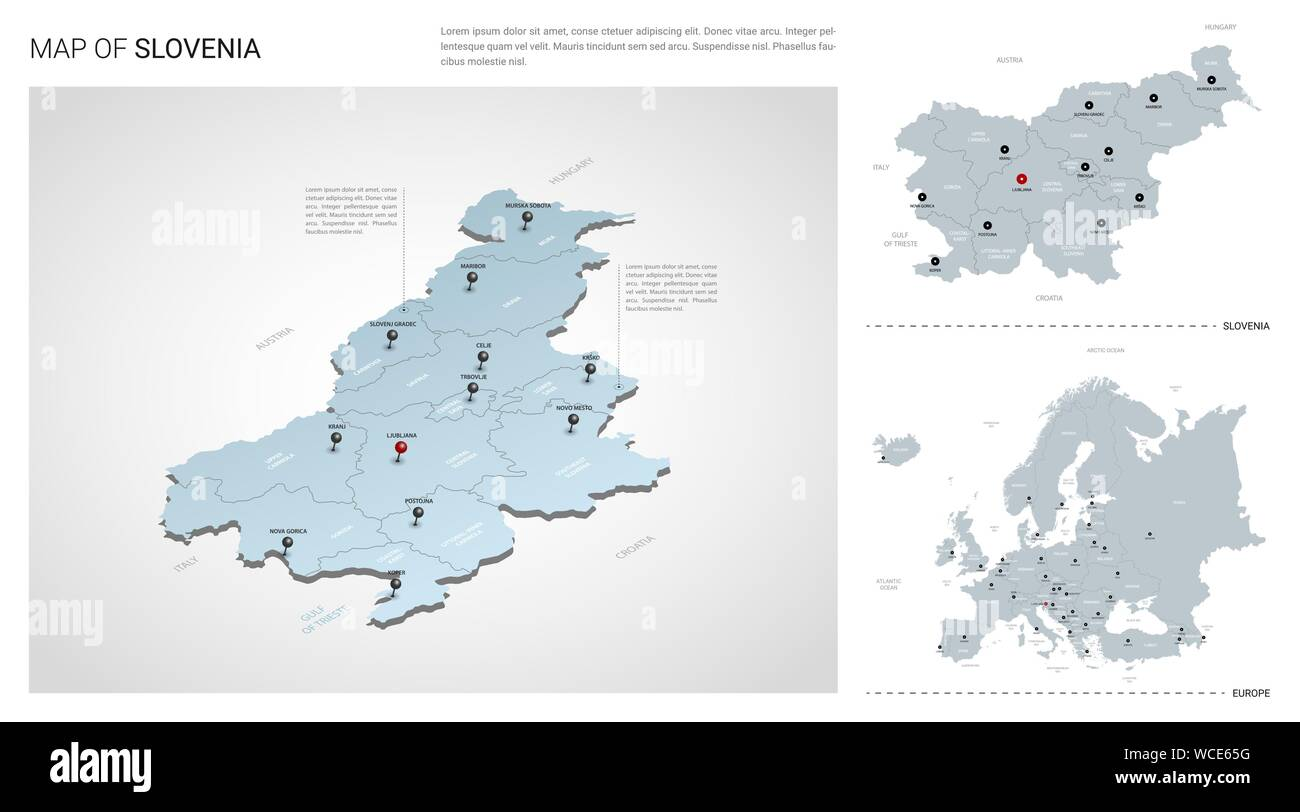 Vector set of Slovenia country. Isometric 3d map, Slovenia ...
