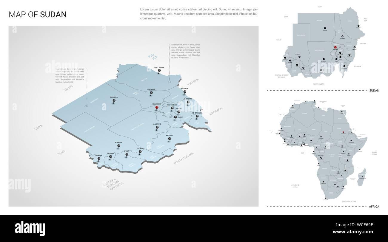 Vector set of Sudan country. Isometric 3d map, Sudan map ...