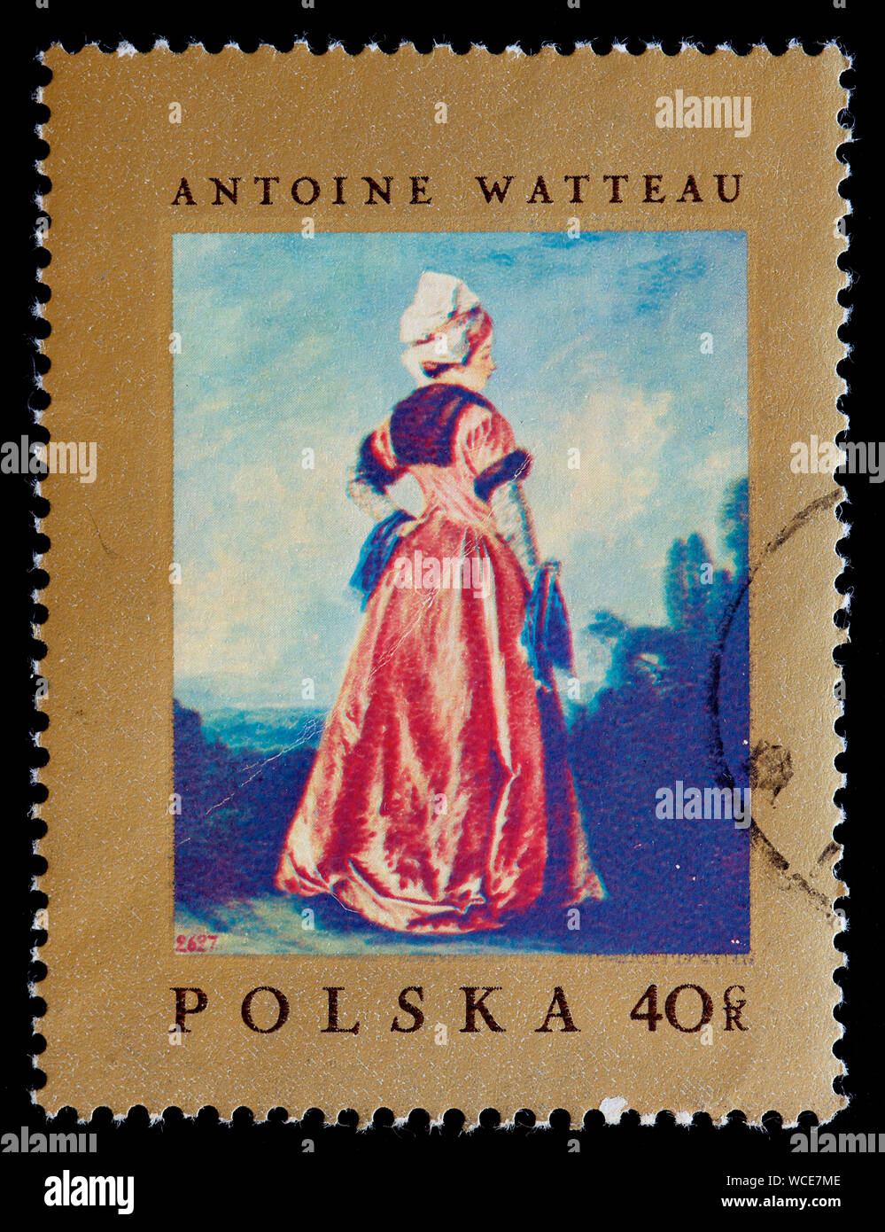 Poland Postage Stamp Polish Woman By Antoine Watteau