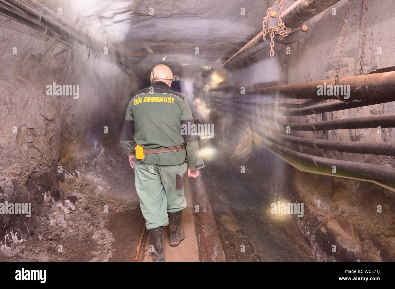 Jachymov, Germany. 08th Aug, 2019. Kilometre-long tunnels connect the underground sources of radon-containing water in the mine Unity in the Czech spa and mining town. The mine is normally not accessible to visitors. First silver was mined here, then uranium. Today, radioactive water is extracted here for spa operation. The Montan region Erzgebirge has been recognised as part of the world cultural heritage since July 2019. (to dpa KORR) Credit: Michael Heitmann/dpa/Alamy Live News Stock Photo
