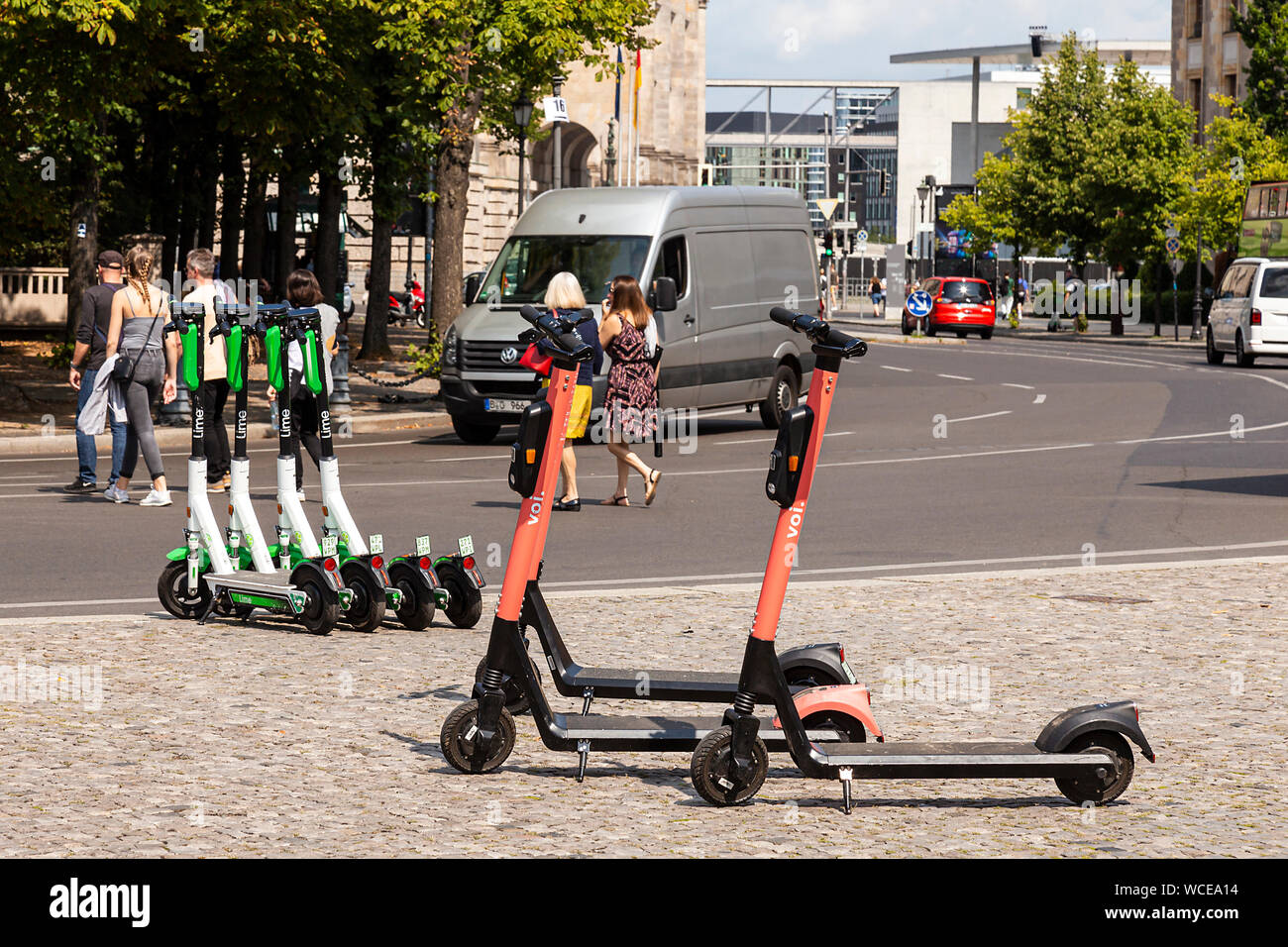 E-Scooters, pedestrians and cars, GERMANY, BERLIN. Stock Photo
