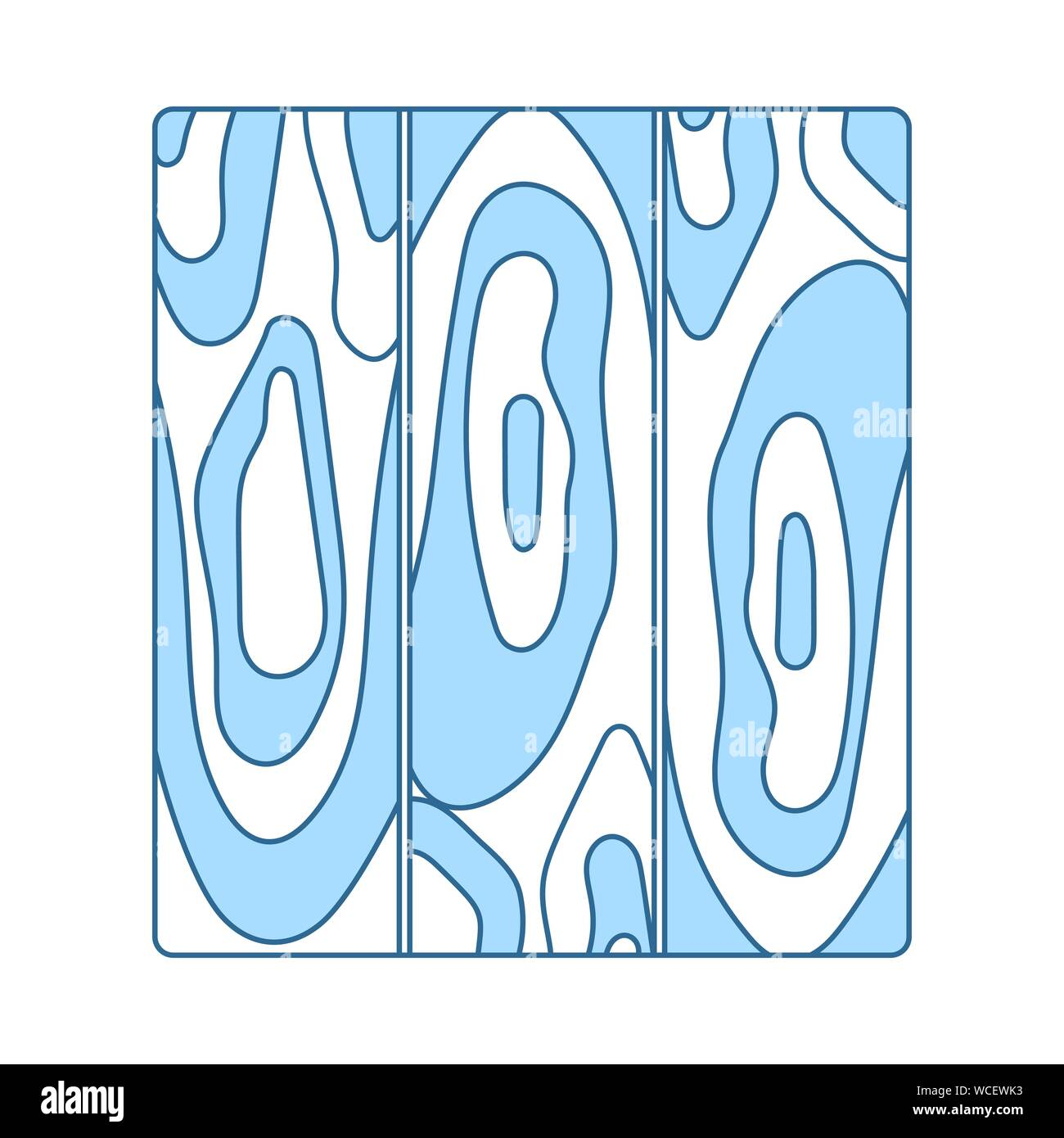 Icon Of Parquet Plank Pattern. Thin Line With Blue Fill Design. Vector Illustration. Stock Vector