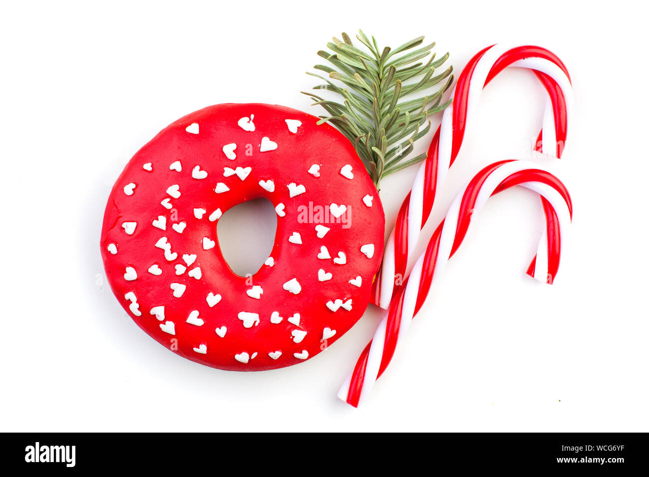 Lollipop Christmas Decorations.Christmas Decorations Red Lollipop And Green Fir Branch On