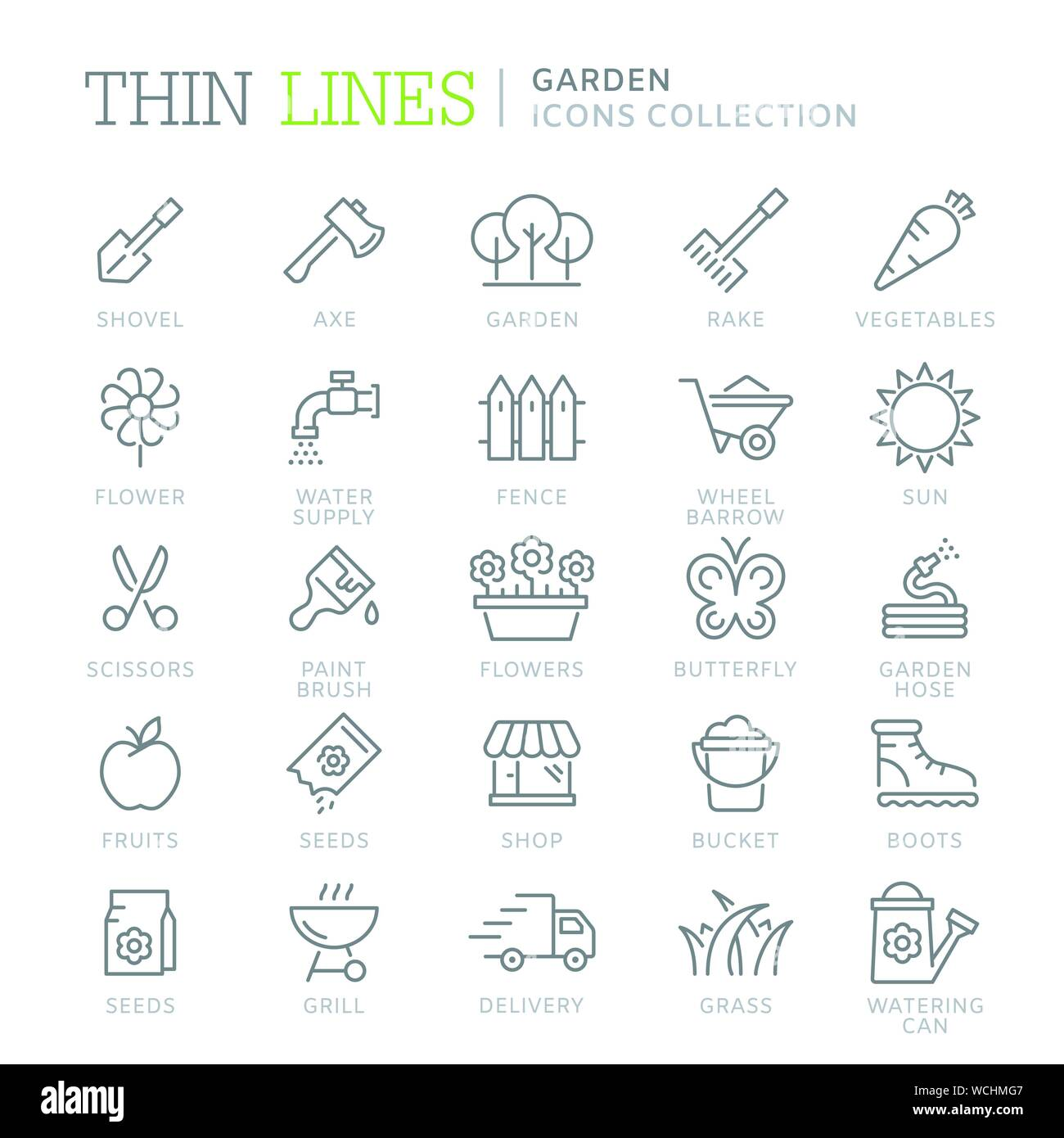 Collection of garden thin line icons Stock Vector