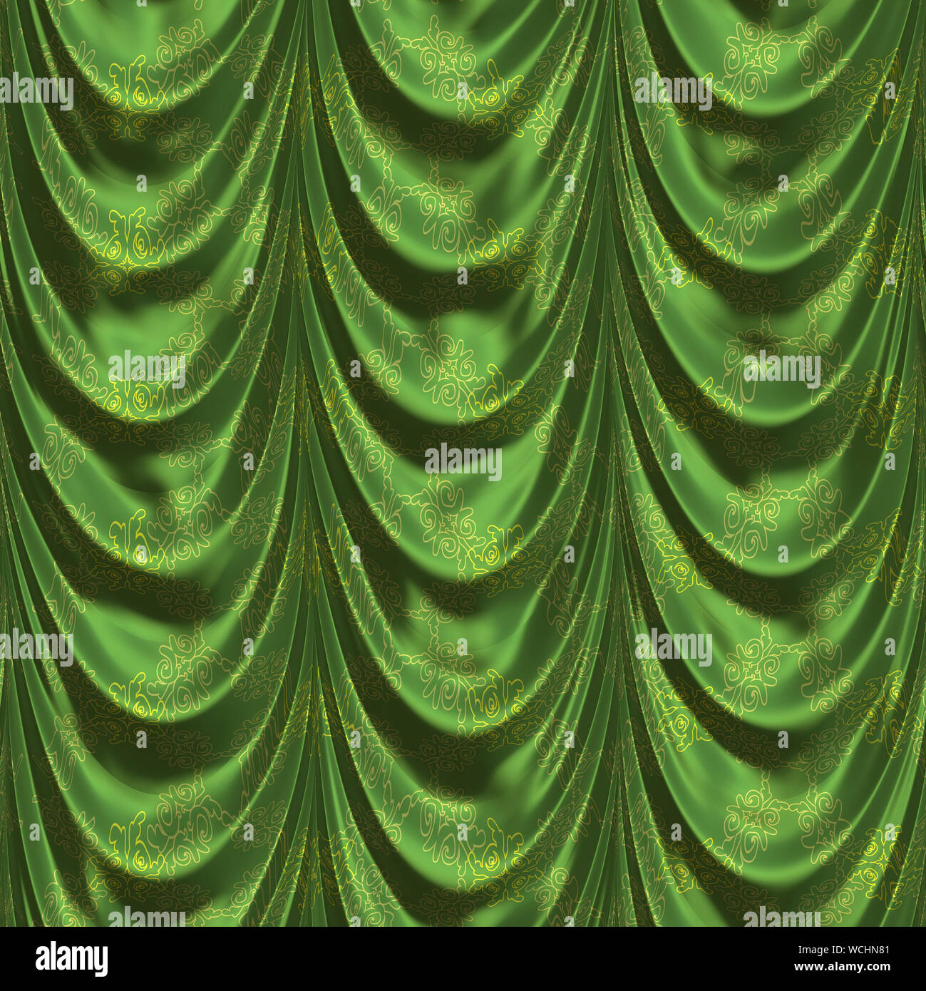 GREEN ANTIQUE SATIN DRAPERY FABRIC new