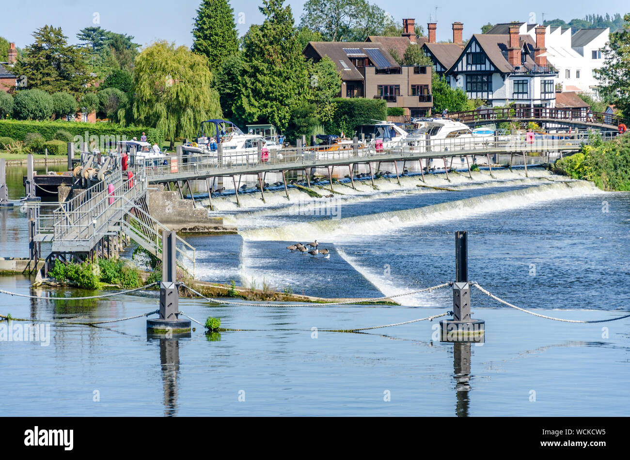 A view of the weir on The River Thames at Marlow in Buckinghamshire, UK Stock Photo