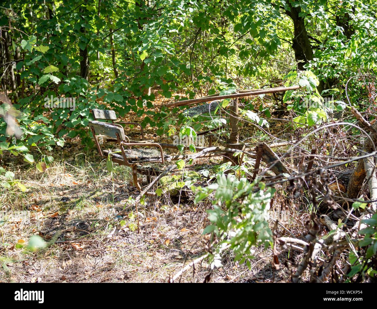 Abandoned Playground In Zalissya Village In Chernobyl Exclusion Zone Ukraine Stock Photo Alamy