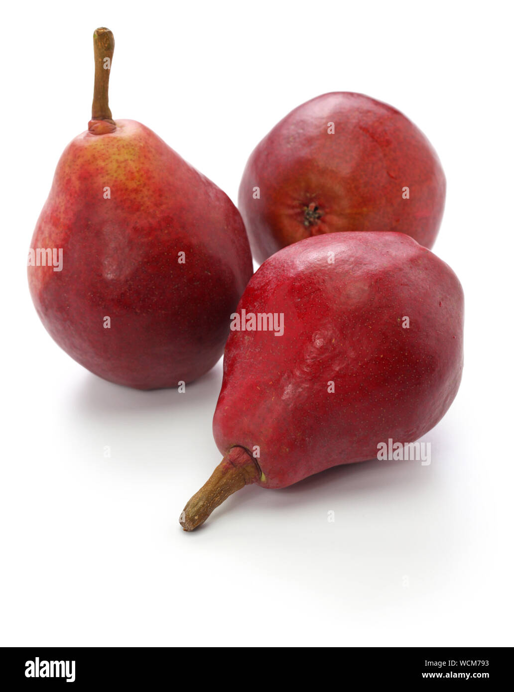 red pears, star crimson isolated on white background Stock Photo