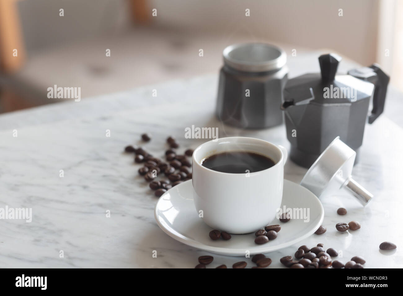 Hot Cup Of Espresso Or Americano Coffee In A Traditional White Cup