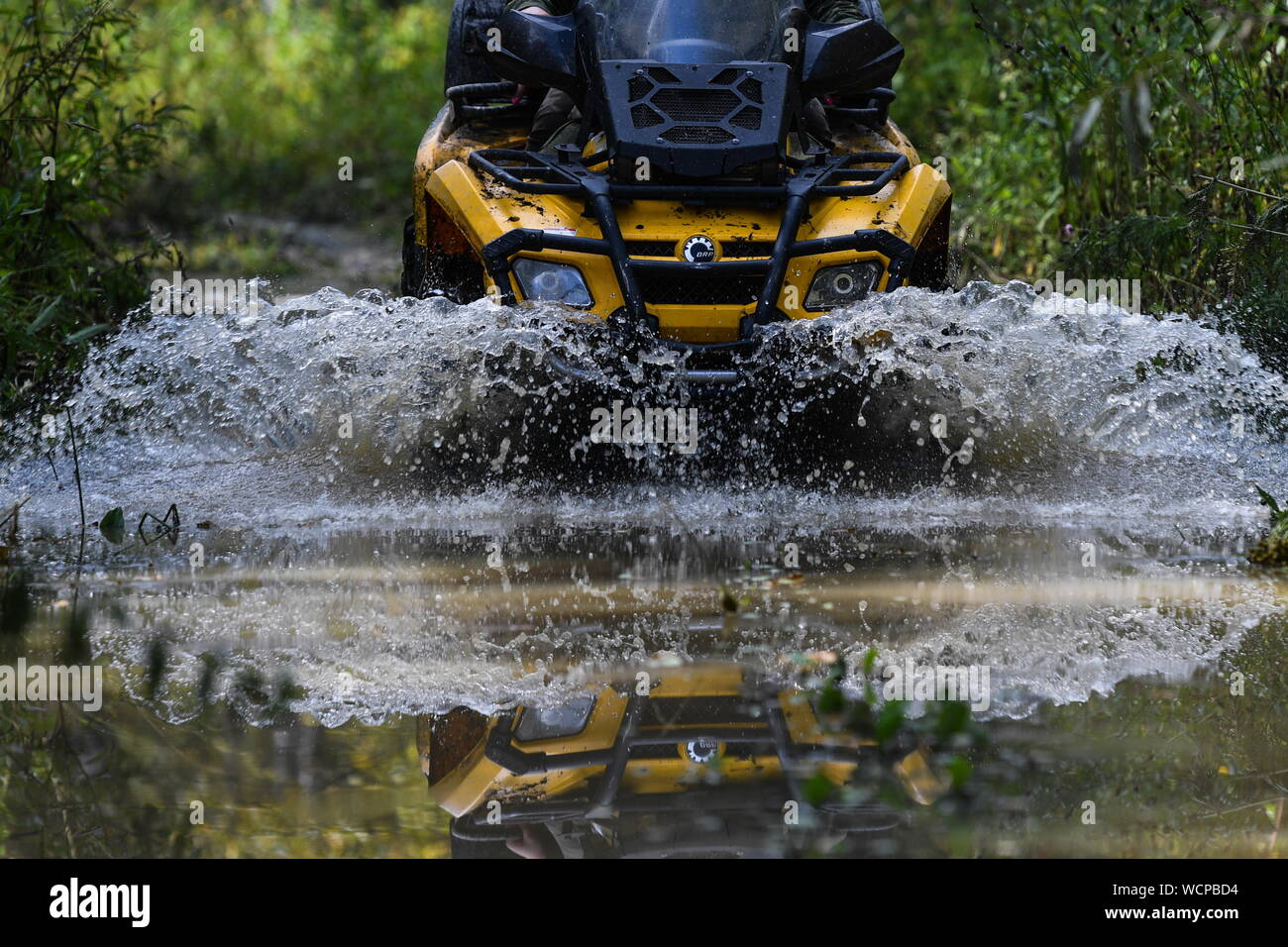ALTAI TERRITORY, RUSSIA - AUGUST 28, 2019: A forest ranger rides an all-terrain vehicle in a protected area of taiga managed by KBU Altaipriroda in Togul District of Russia's Altai Territory, which is to become part of a protected area under the working name of Togul National Park; according to the Russian government's project Ekologia (Ecology), the proposed national park is to be established by 2024 and to include parts of Zarinsk District, Togul District, and Yeltsovka District of the Altai Territory, with a total area of over 160 hectares. Kirill Kukhmar/TASS Stock Photo