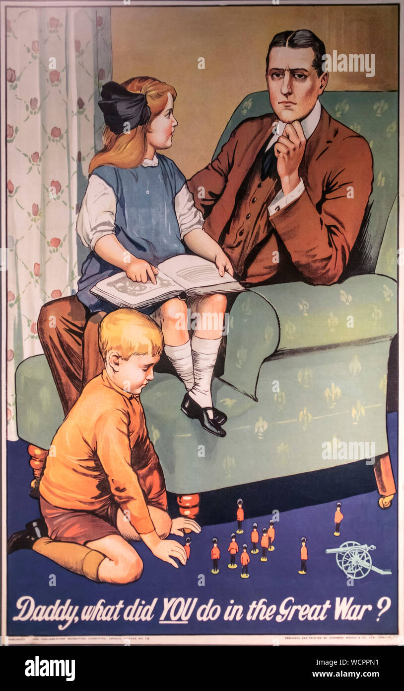 Daddy What did YOU do in the Great War? poster Stock Photo