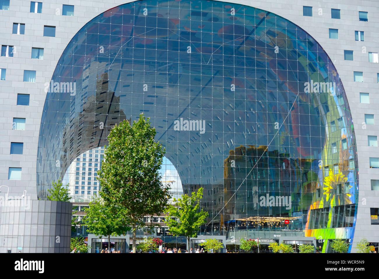 Market Hall Markthal Rotterdam, the Netherlands. Stock Photo