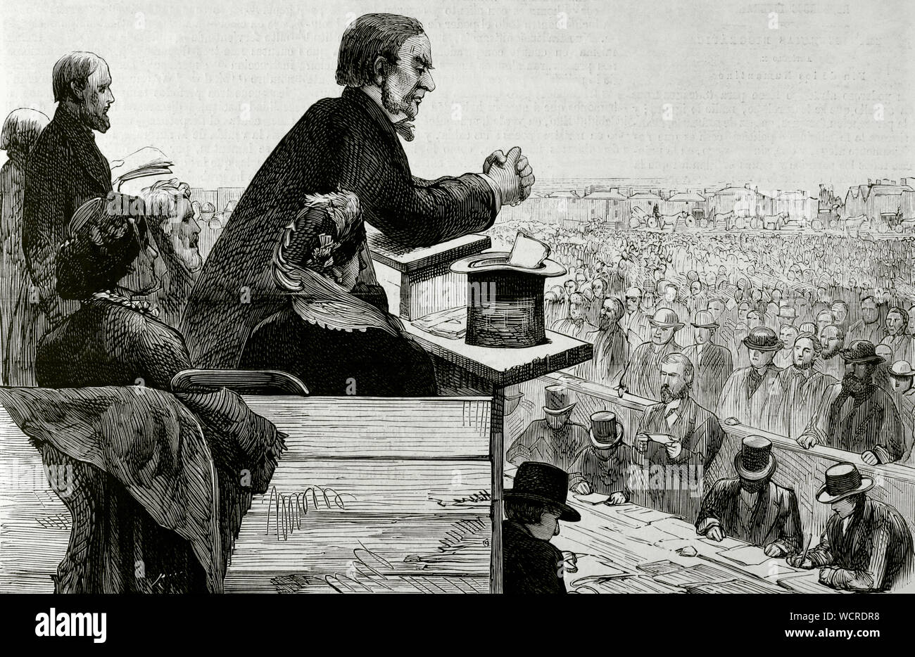 William Gladstone (1809-1898). British statesman and Liberal politician. Meeting held in Greenwich on September 8, 1876 under the presidency of Gladstone, who addressed his voters explaining the atrocities committed by the Turks in Bulgaria. After the act it was agreed to send a message to the Queen and the Government of England, asking for the complete cessation of the Turkish administration in the provinces of Bulgaria, Bosnia and Herzegovina. Engraving. La Ilustracion Española y Americana, September 22, 1876. Stock Photo