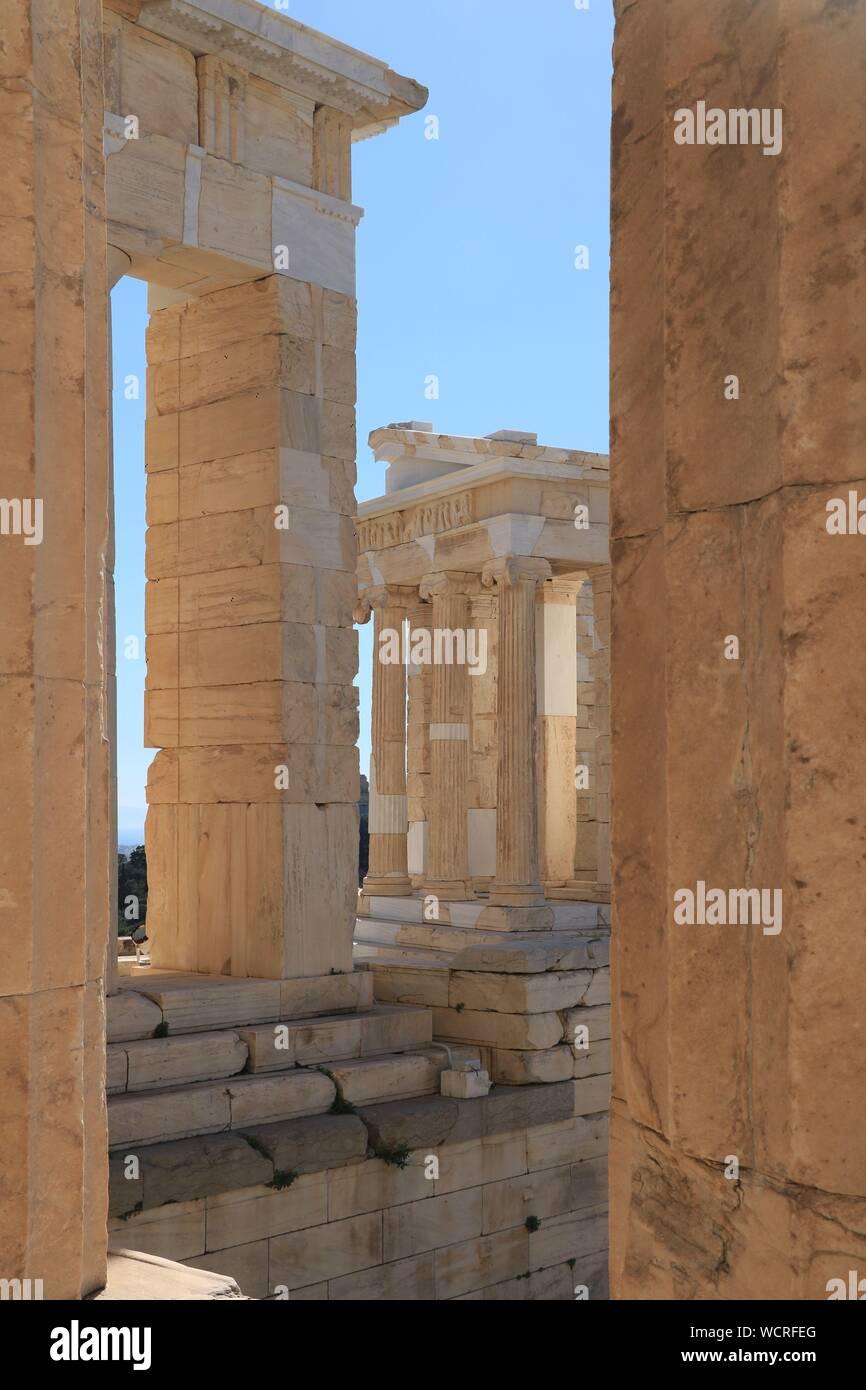 Temple of Athena Nike. View from the Propylaea - Acropolis of Athens Stock Photo