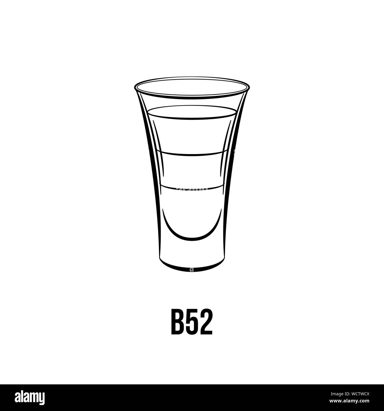 B 52 cocktail vector black and white illustration. Layered shot, beverage with three ingredients. Alcoholic liquor ink drawing. Strong drink in glass. Night club menu, poster design element Stock Vector