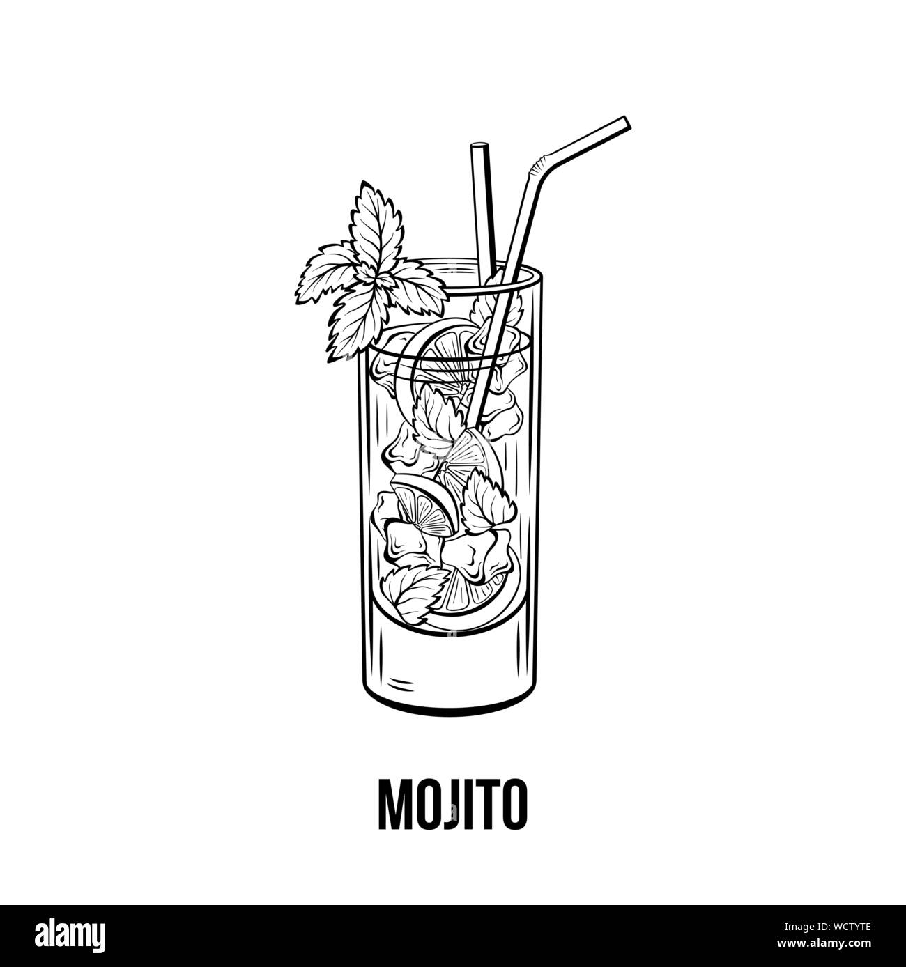 Mojito vector hand drawn illustration. Fruity beverage, strong drink. Monochrome refreshing non alcoholic cocktail with lime, mint and ice ink drawing. Restaurant menu, poster design element Stock Vector