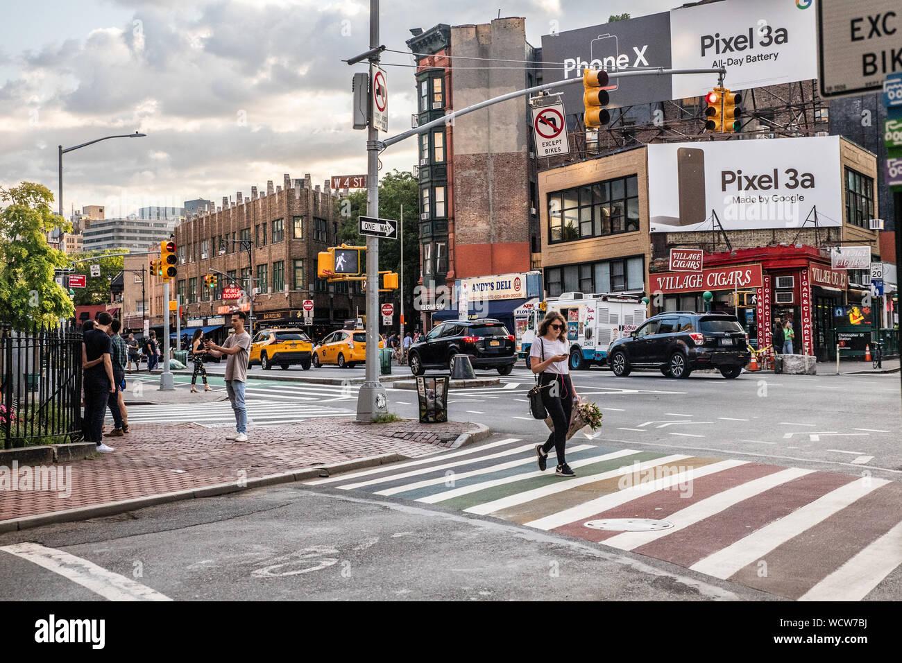 NEW YORK CITY - AUGUST 24, 2019:  Street scene for Greenwich Village, West Village in Manhattan Stock Photo
