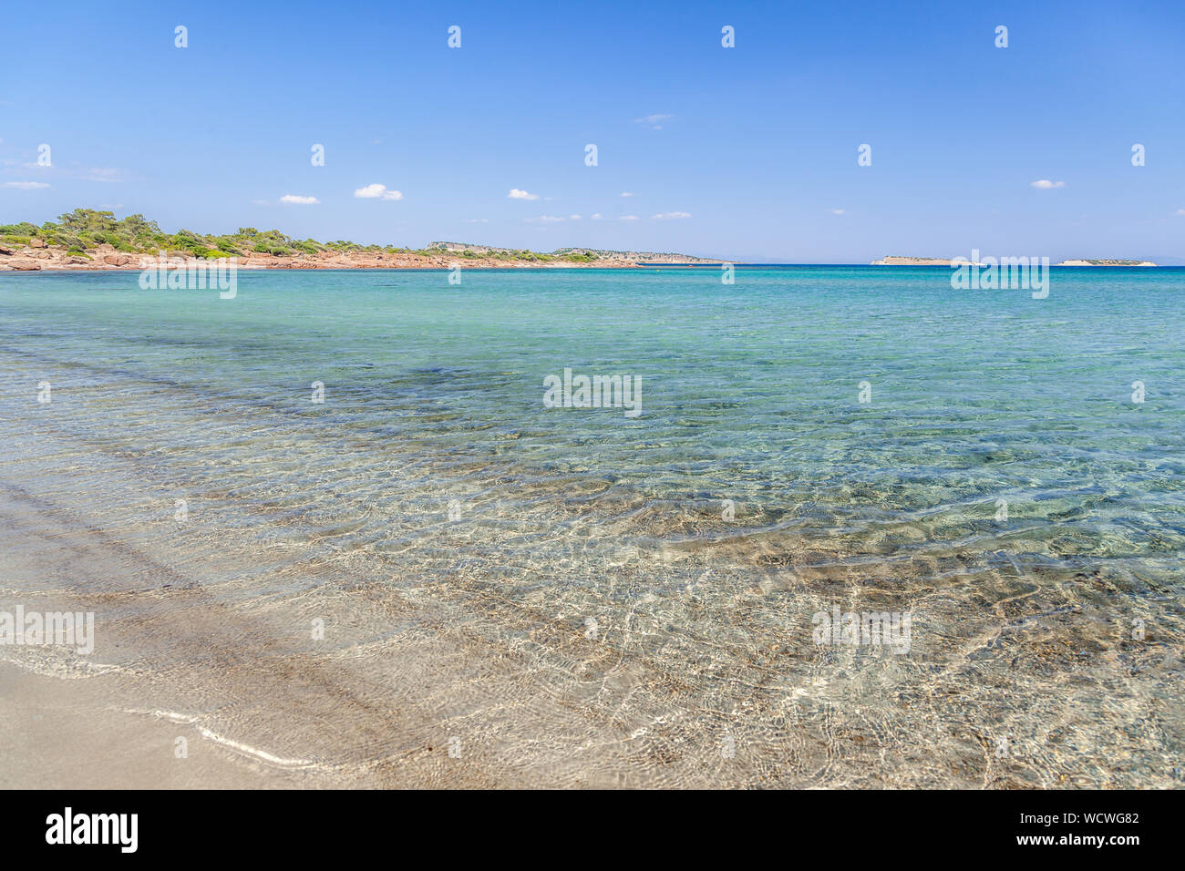 Lesvos island, the beach of Chryssi Ammos (Golden Sand), near the village of Mantamados, in northern Lesvos. Stock Photo
