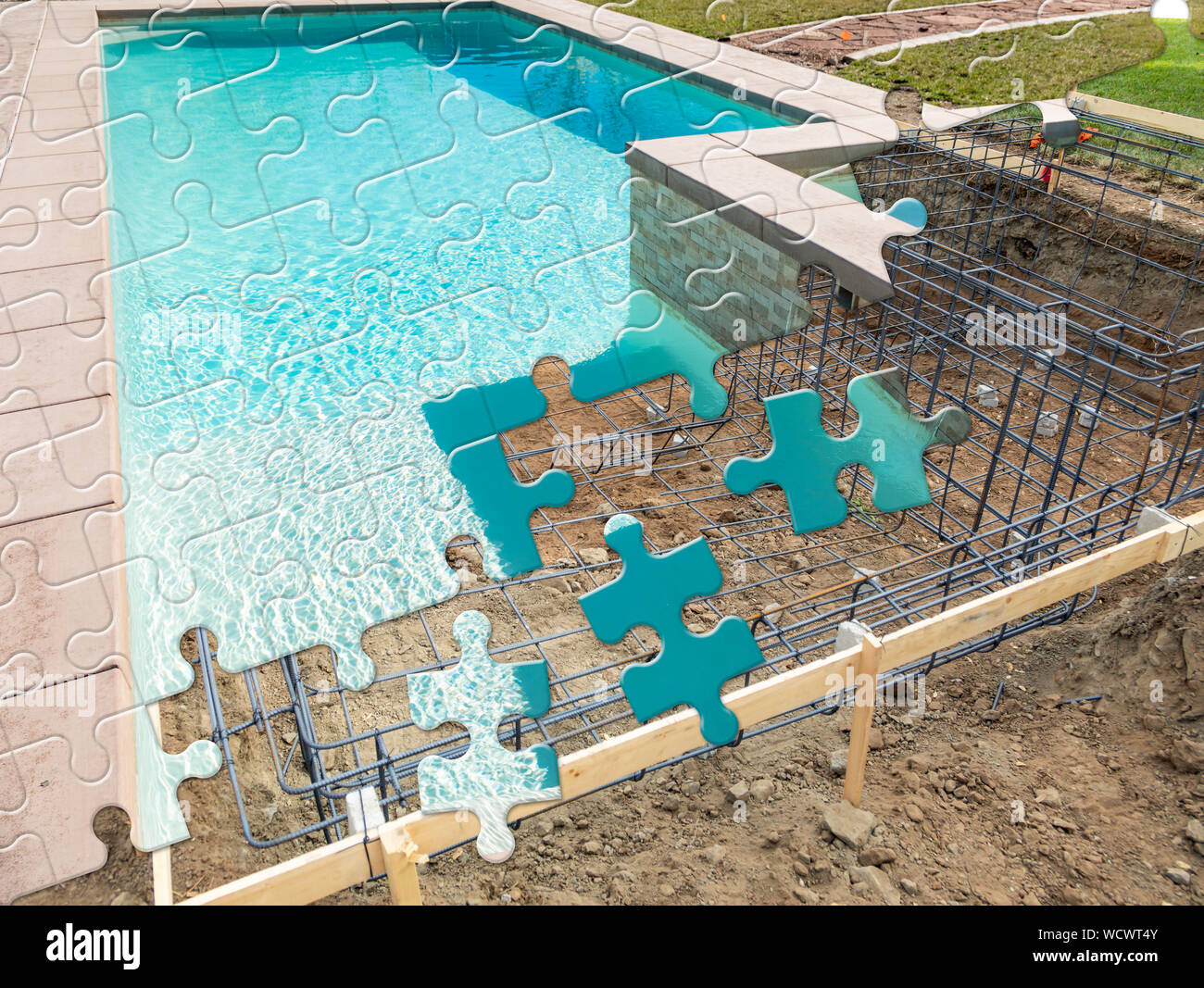 Puzzle Pieces Fitting Together Revealing Finished Pool Build Over Construction. Stock Photo