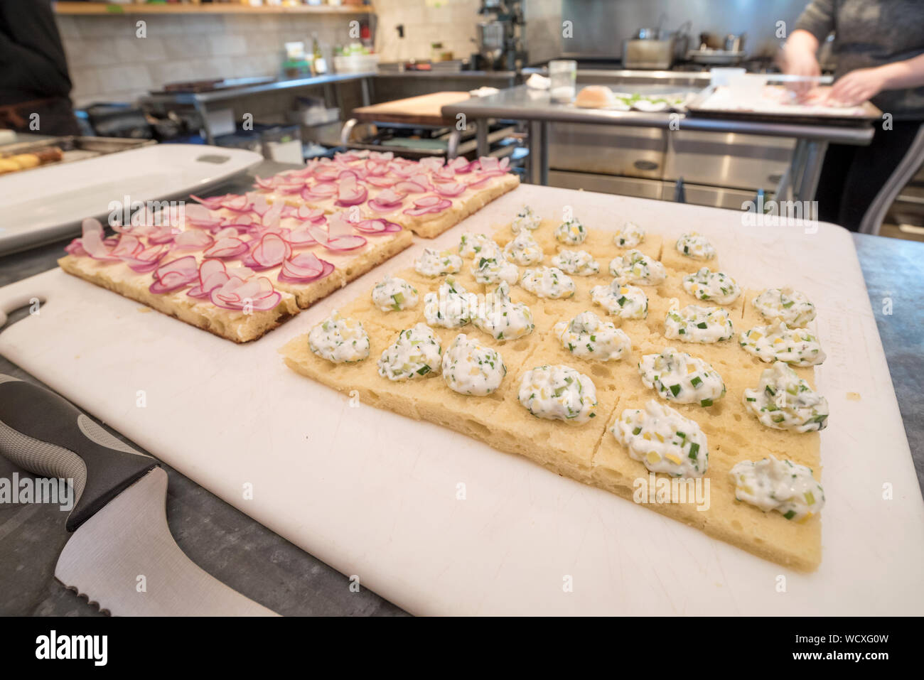 Appetizers at the Minam River Lodge in Oregon's Wallowa Mountains. Stock Photo
