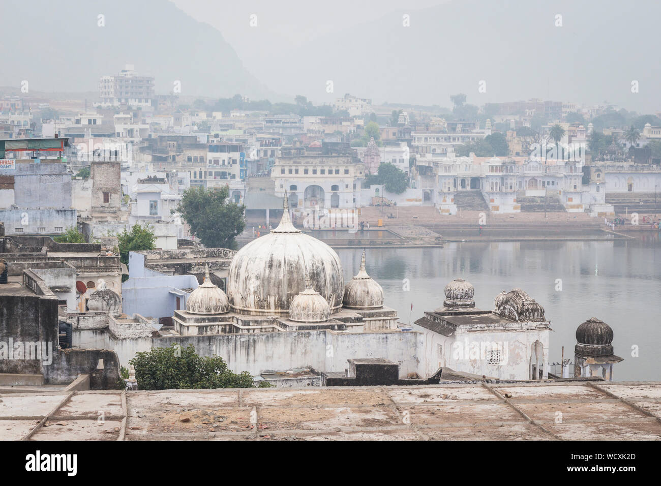 scene of Pushkar town and Pushkar lake in winter season