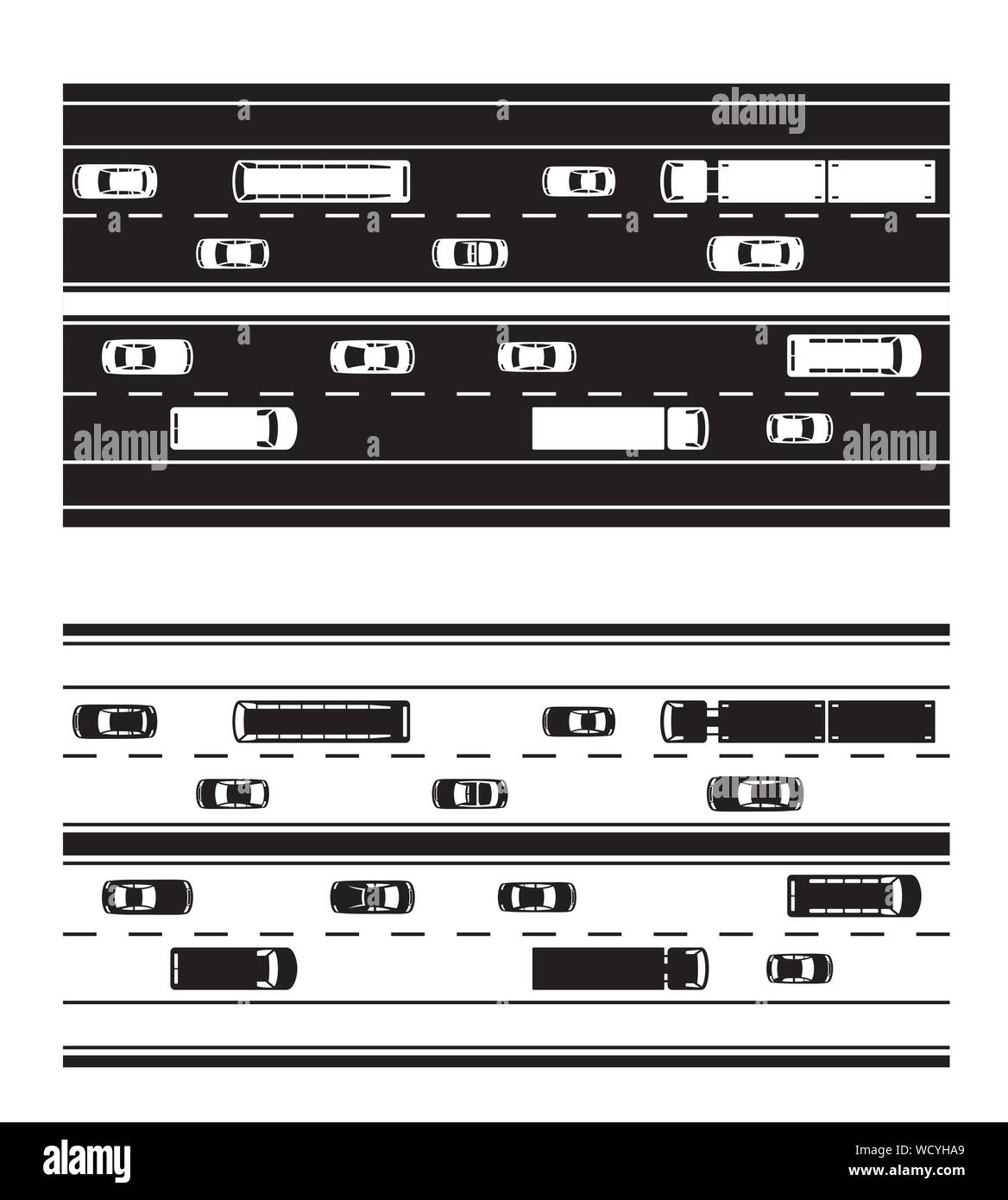 Highway with different types of road vehicles - vector illustration Stock Vector