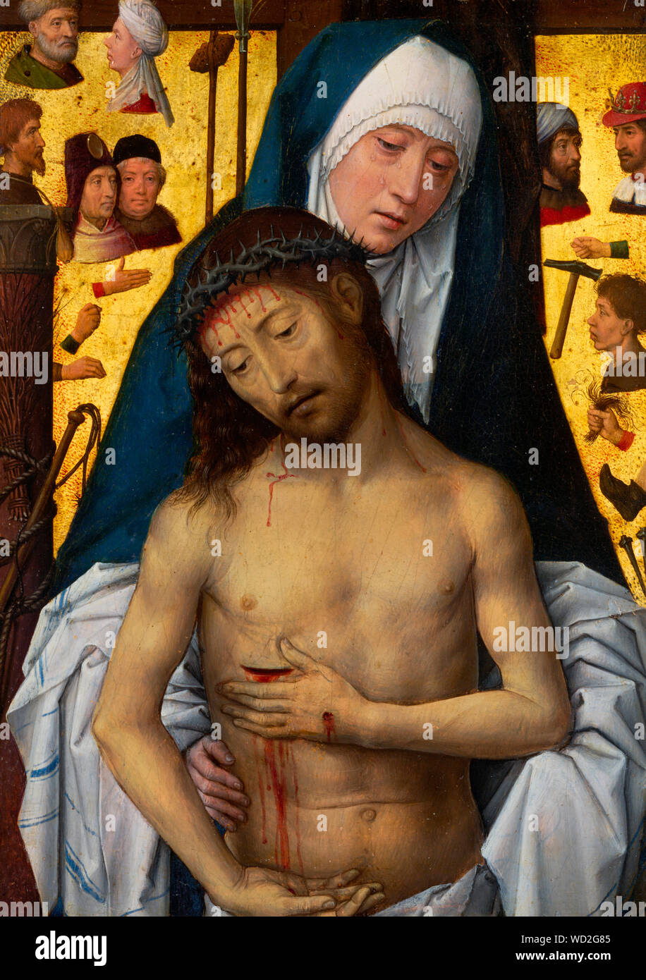 The Man of Sorrows in the arms of the Virgin - Hans Memling, circa 1475 Stock Photo