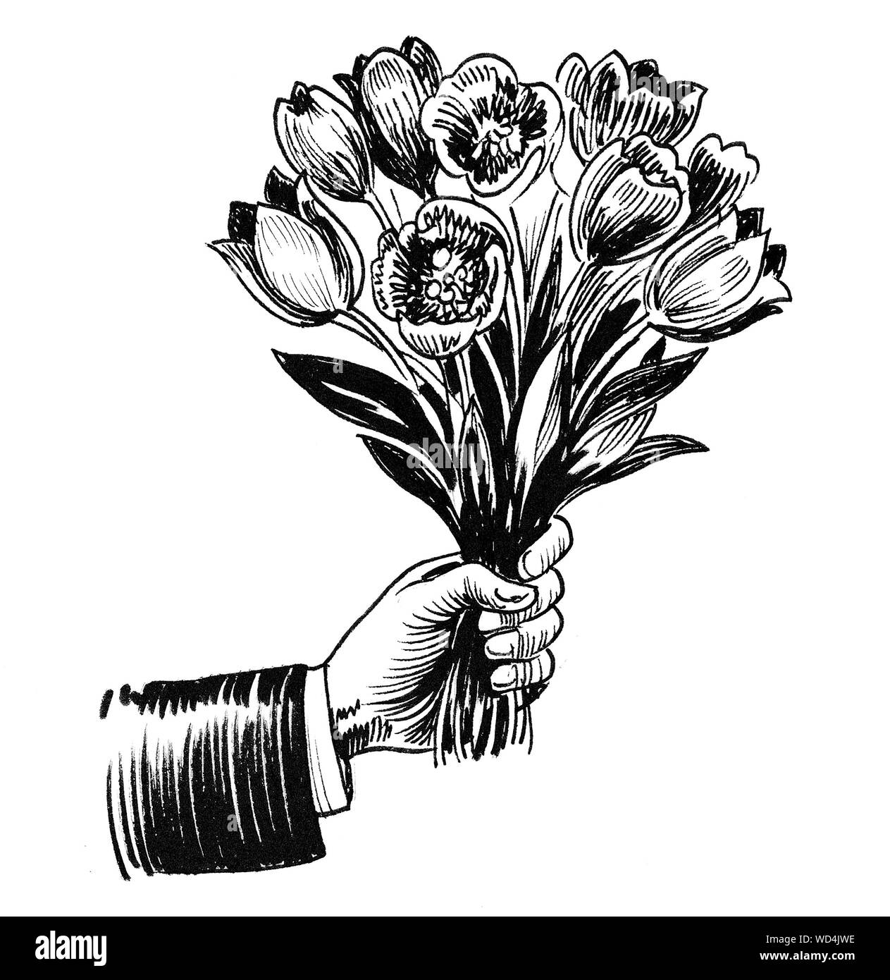 Hand Holding A Flower Bouquet Ink Black And White Drawing Stock Photo Alamy