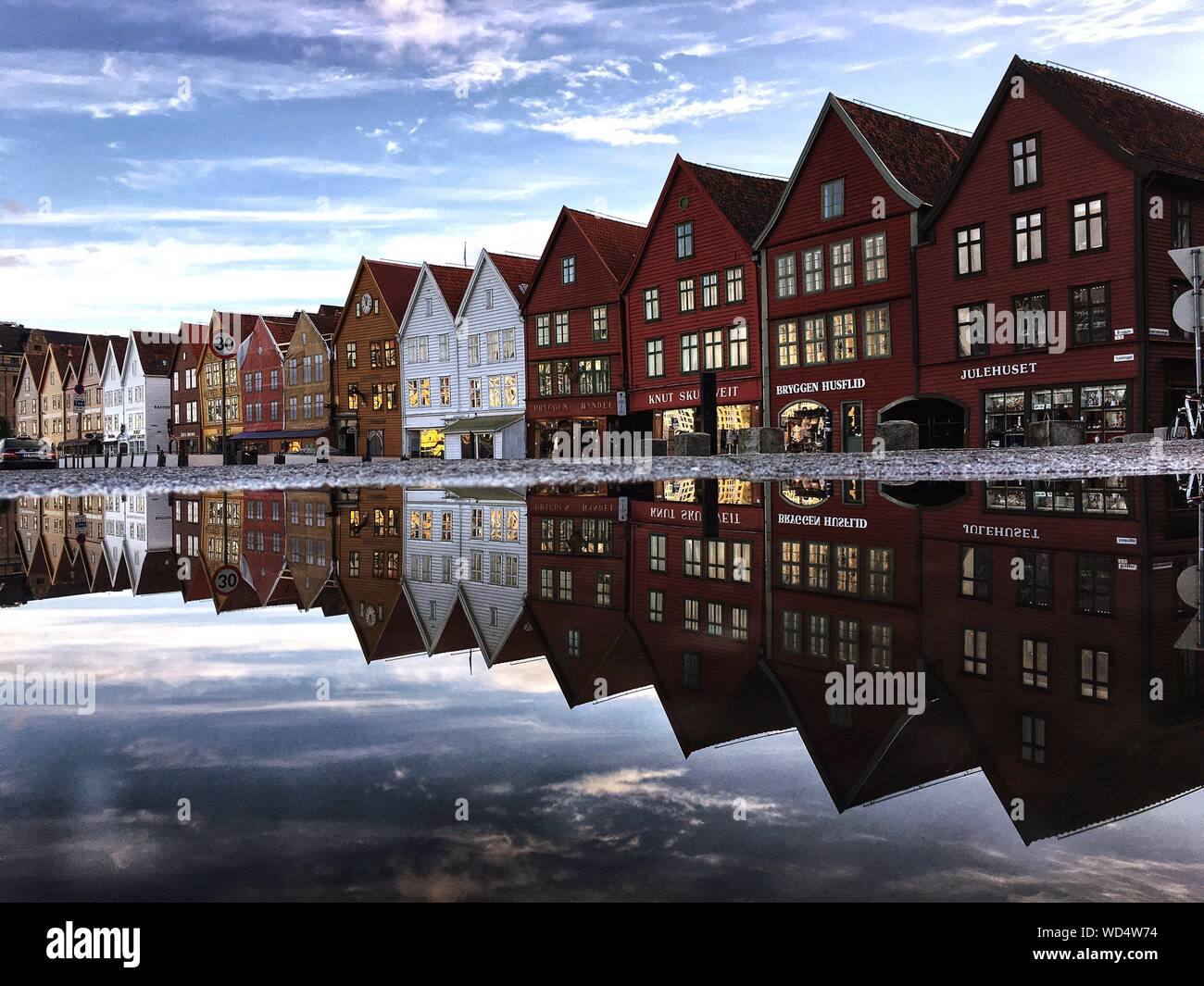 Reflection Of Buildings In Water Stock Photo