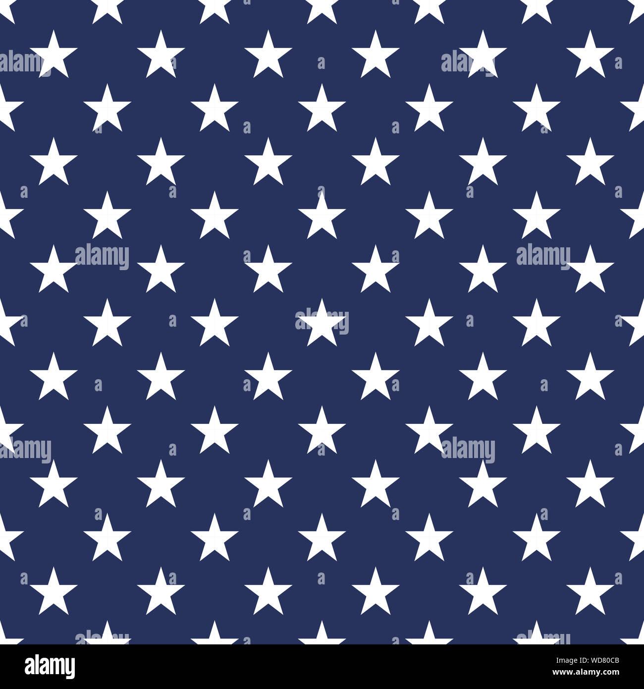 Usa Flag Seamless Pattern Vector Illustration White Stars