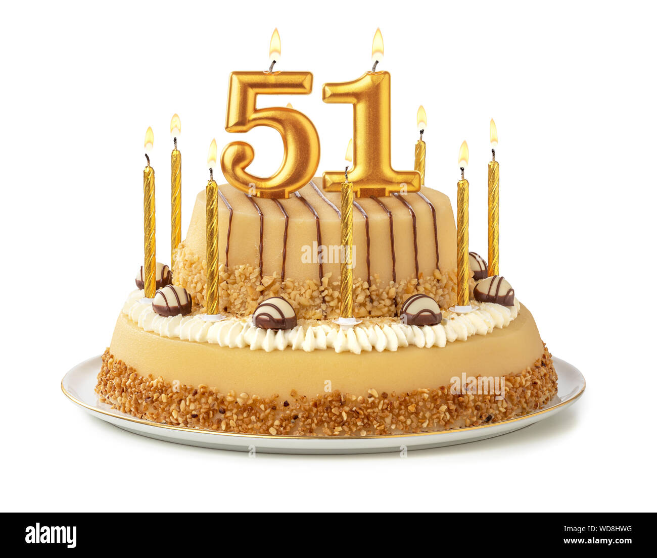 Astounding Festive Cake With Golden Candles Number 51 Stock Photo Personalised Birthday Cards Epsylily Jamesorg