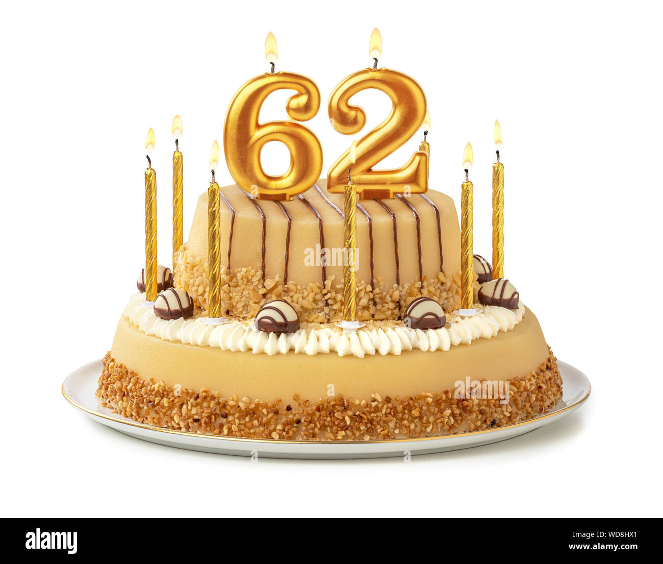 Surprising Birthday Cake Candles Number 62 Stock Photos Birthday Cake Funny Birthday Cards Online Aeocydamsfinfo