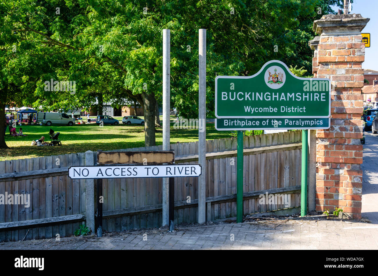 Signs as you enter the town of Marlow in Buckinghamshire, UK Stock Photo