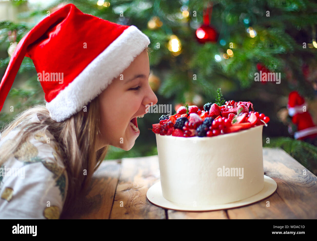 Christmas Cake decorated with berries and little girl by the Christmas tree Stock Photo