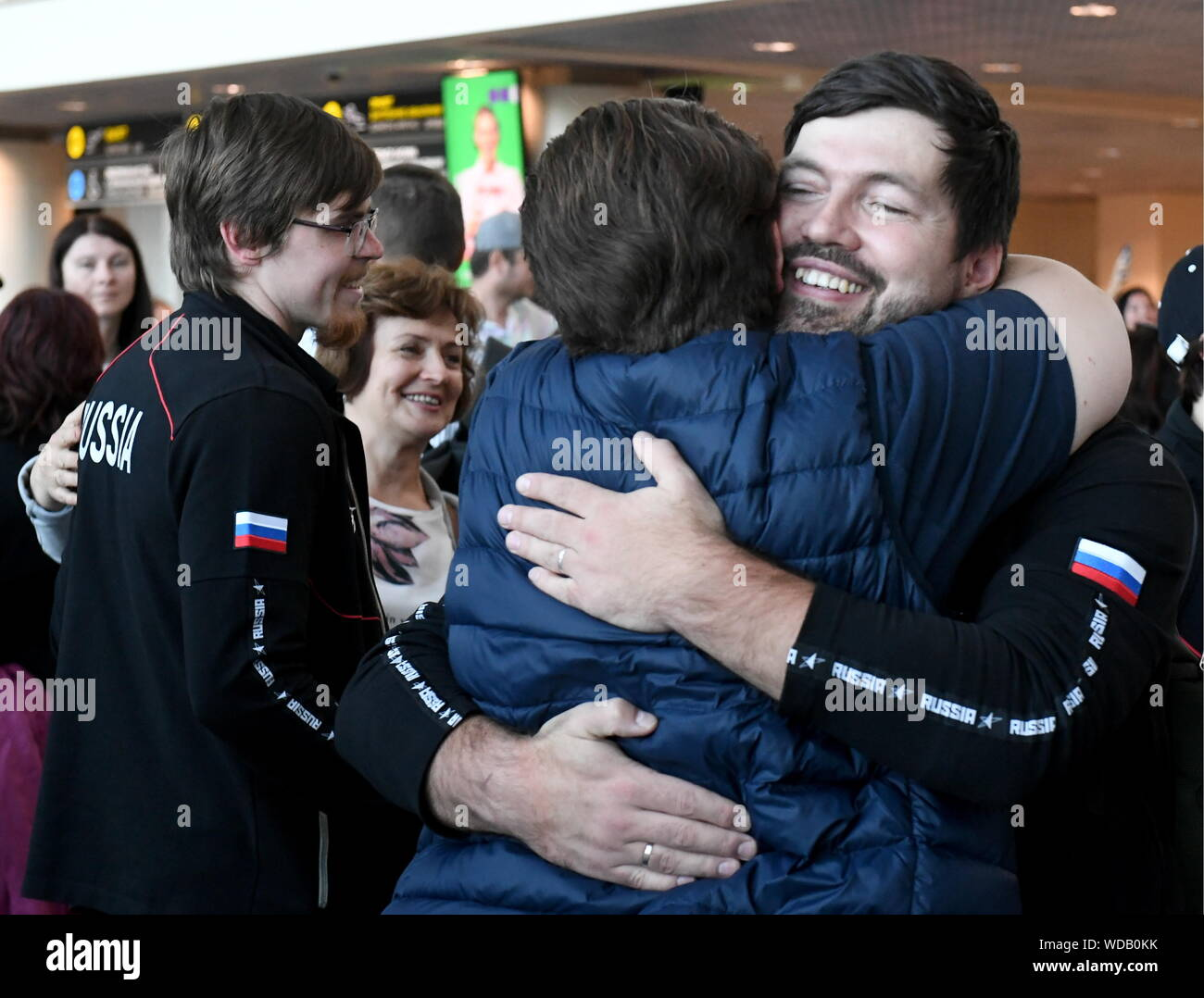 Russia. 29th Aug, 2019. MOSCOW REGION, RUSSIA - AUGUST 29, 2019: A ceremony to welcome Team Russia members at Domodedovo International Airport after WorldSkills Kazan 2019, the 45th WorldSkills Competition. The team has won 14 gold, 4 silver, 4 bronze medals and 45 medallions for professionalism at the competition. Maxim Grogoyev/TASS Credit: ITAR-TASS News Agency/Alamy Live News Stock Photo